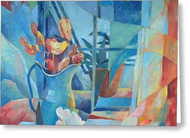 Window in Blue Greeting Card by Susanne Clark