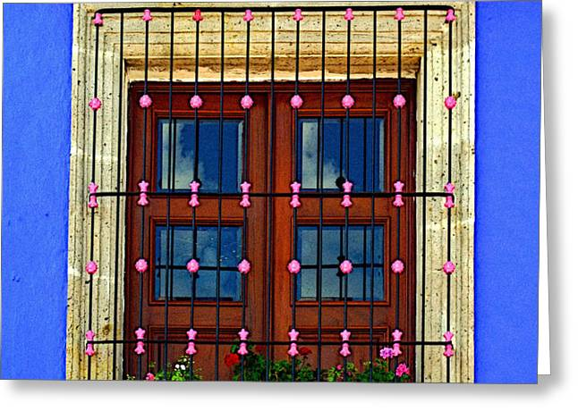 Window in Blue with Baubles Greeting Card by Olden Mexico