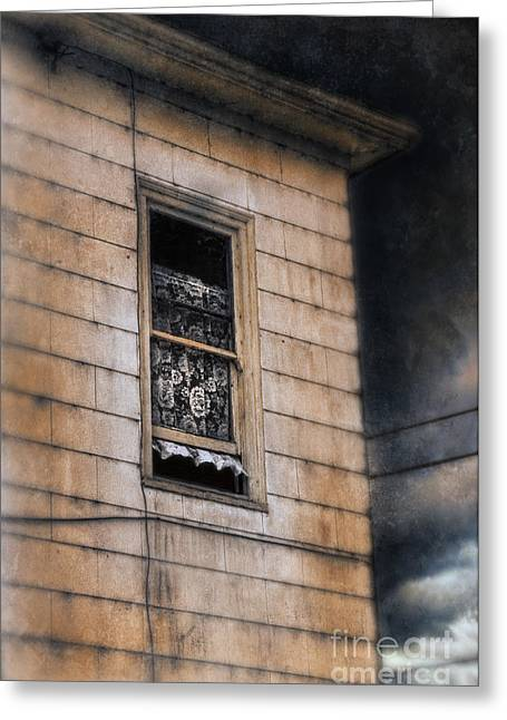 Haunted House Photographs Greeting Cards - Window in Old House Stormy Sky Greeting Card by Jill Battaglia