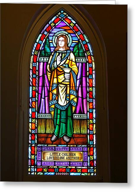 Jesus Christ Icon Greeting Cards - Window In Trinity Church V Greeting Card by Steven Ainsworth