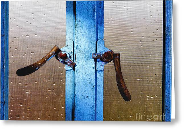 Wet Window Greeting Cards - Window Latches Greeting Card by Skip Nall