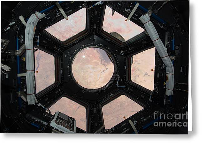 Iss Greeting Cards - Window Of International Space Station Greeting Card by NASA/Science Source
