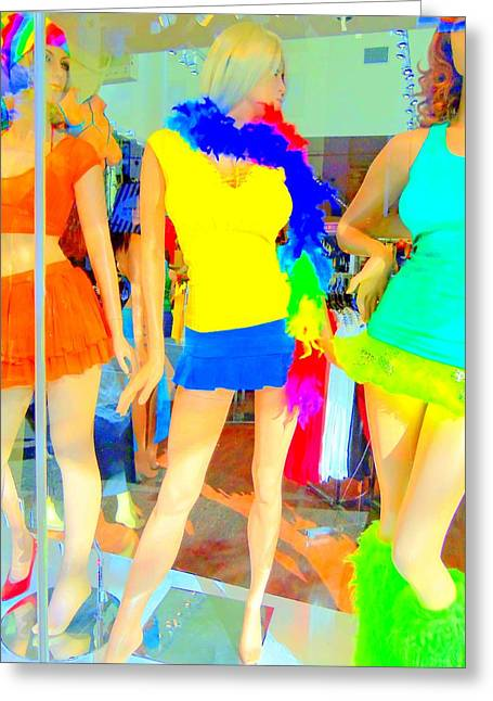Window Display Greeting Cards - Window Shopping BLUE BOA Greeting Card by Randall Weidner