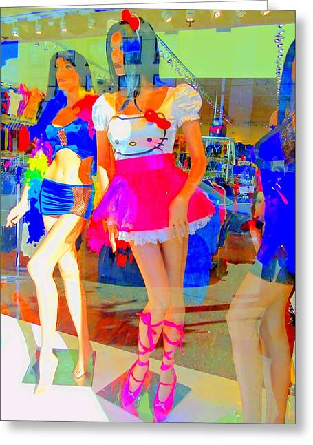 Window Display Greeting Cards - Window Shopping HELLO KITTY Greeting Card by Randall Weidner