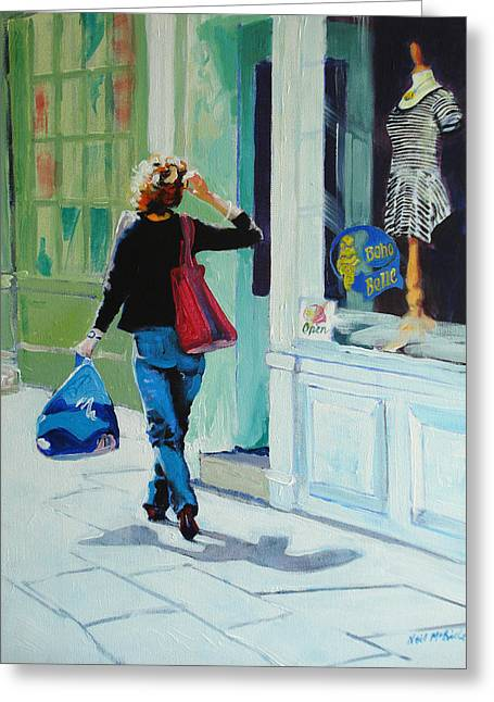 Neil Mcbride Greeting Cards - Window Shopping Greeting Card by Neil McBride
