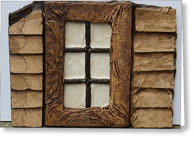 Texture Sculptures Greeting Cards - Window Greeting Card by Steve  Hester