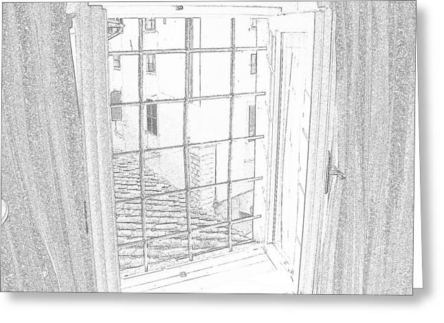 window to history Greeting Card by Michael Belgeri