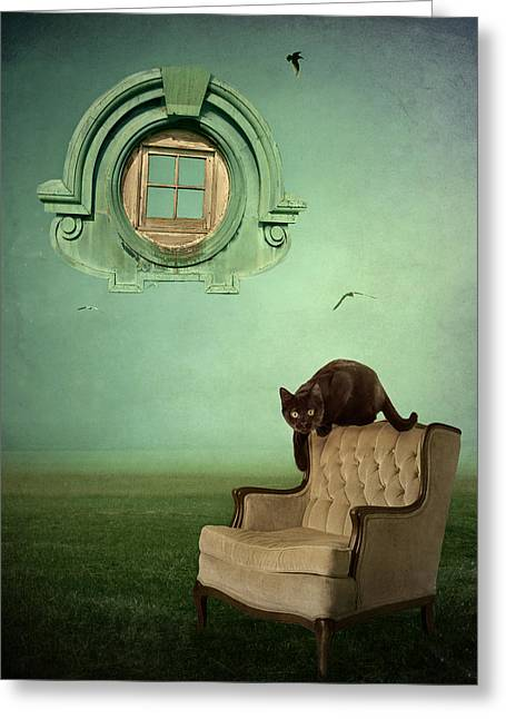 Black Cat Fantasy Greeting Cards - Window to Nowhere Greeting Card by Patricia Ridlon