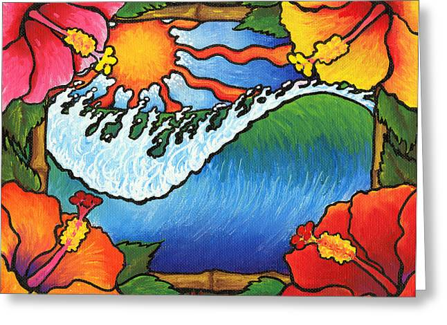 Surf Art Drawings Greeting Cards - Window to the Tropics Greeting Card by Adam Johnson