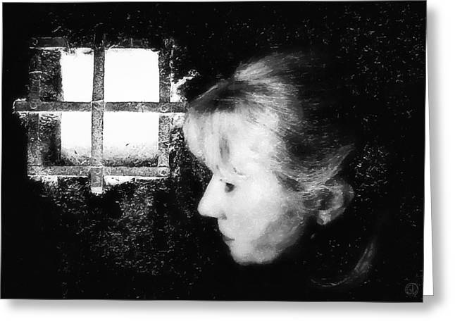 Woman Head Greeting Cards - Window to the world Greeting Card by Gun Legler