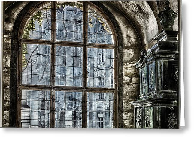 Prague Castle Greeting Cards - Window with a View Greeting Card by Joan Carroll