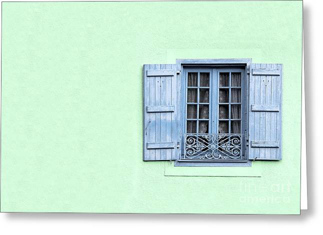 Stucco Greeting Cards - Window with copy space Greeting Card by Jane Rix
