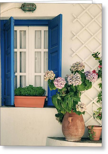 Lattice Greeting Cards - Window With Flowers Greeting Card by Joana Kruse