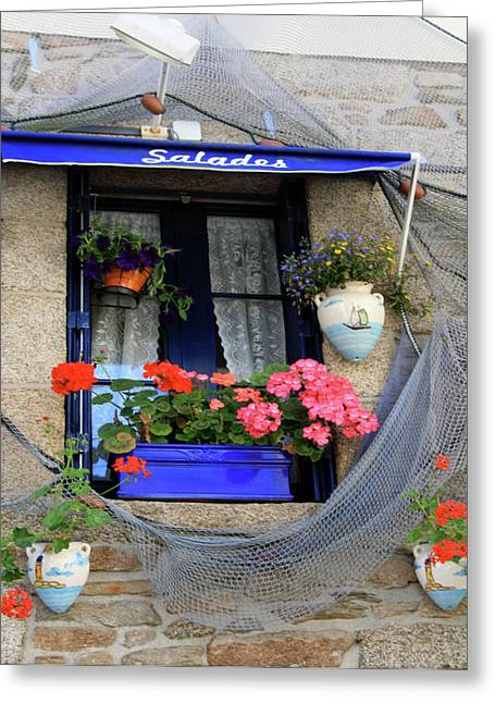 Purple Awnings Greeting Cards - Window with Flowers Greeting Card by Sharon Kalniz