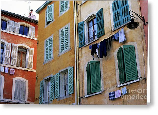 French Laundry Greeting Cards - Windows and clothesline Greeting Card by Sami Sarkis