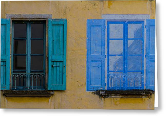 Blue Glass World Greeting Cards - Windows Greeting Card by Debra and Dave Vanderlaan