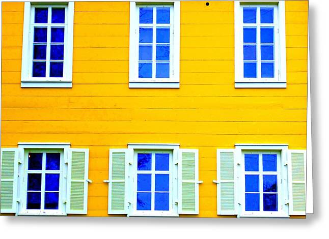 Alaskan Architecture Greeting Cards - Windows On Yellow Greeting Card by Randall Weidner