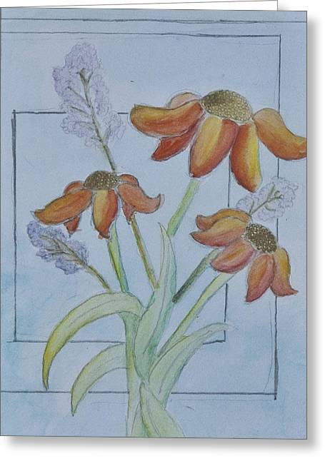 Flower Boxes Drawings Greeting Cards - Windowsill Greeting Card by Peter Cagno
