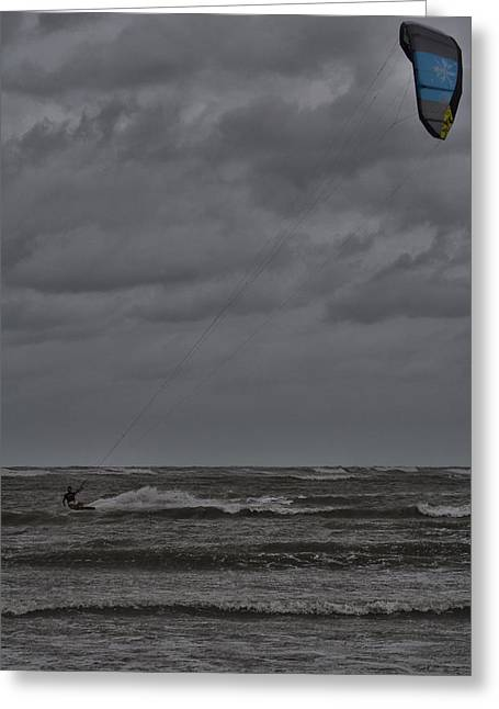 Kite Surfer Greeting Cards - Windpower Greeting Card by Douglas Barnard