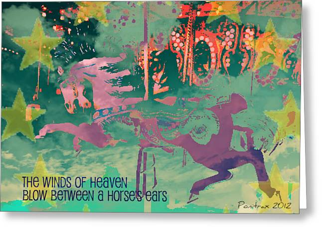 Quarter Horse Mixed Media Greeting Cards - Winds of Heaven Greeting Card by Poni Trax