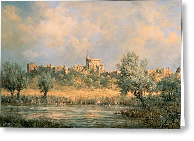 Castle. Birds Greeting Cards - Windsor Castle - from the River Thames Greeting Card by Richard Willis