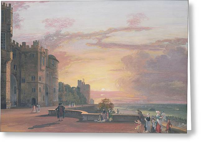 Landscape At Sunset Greeting Cards - Windsor Castle North Terrace looking west at sunse Greeting Card by Paul Sandby