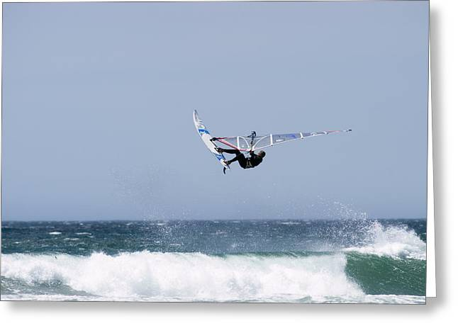 30-35 Years Greeting Cards - Windsurfer Jumping Waves At Jalama Greeting Card by Rich Reid