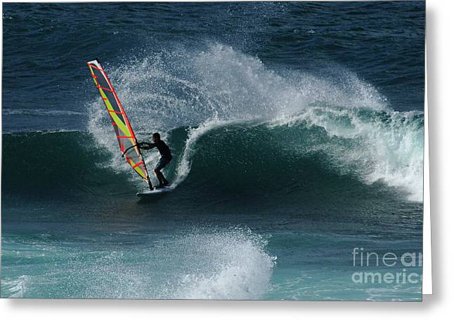 Wind Surfer Greeting Cards - Windsurfer Maui Greeting Card by Bob Christopher