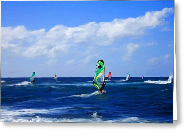 Windsurfer Greeting Cards - Windsurfers at Hookipa Bay Greeting Card by Snake Jagger