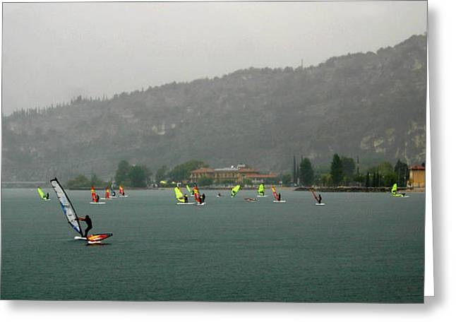 Sailboarding Greeting Cards - Windsurfing at Cannes Greeting Card by Emanuel Tanjala