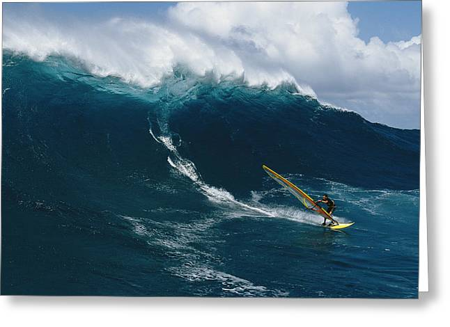 The North Greeting Cards - Windsurfing Off The North Shore Of Maui Greeting Card by Patrick Mcfeeley