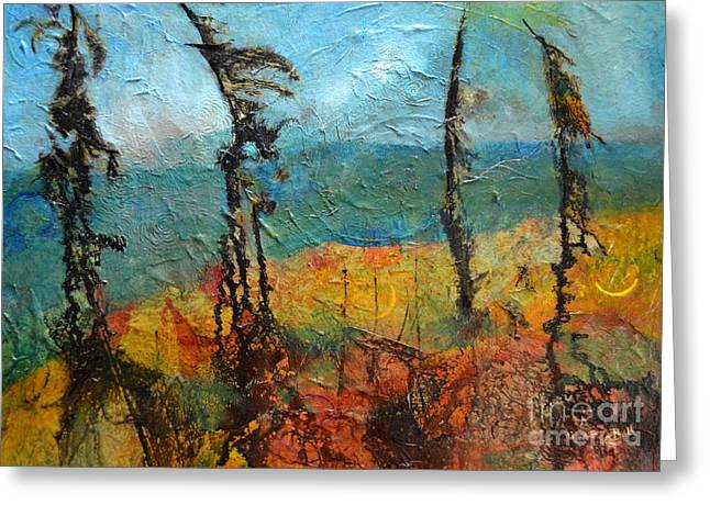 Windswept Mixed Media Greeting Cards - Windswept Pines Greeting Card by Claire Bull
