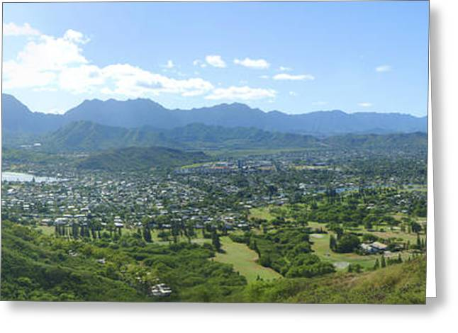 Pastureland Greeting Cards - Windward Oahu Panorama I Greeting Card by David Cornwell/First Light Pictures, Inc - Printscapes
