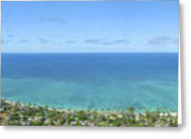Pastureland Greeting Cards - Windward Oahu Panoramic Greeting Card by David Cornwell/First Light Pictures, Inc - Printscapes