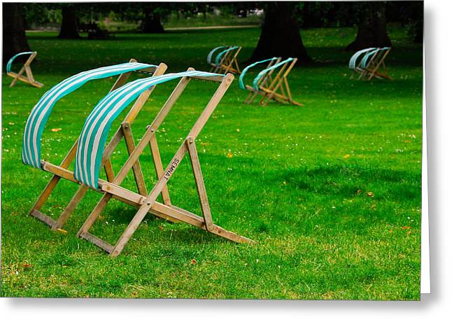 Lawn Chair Greeting Cards - Windy Chairs Greeting Card by Harry Spitz