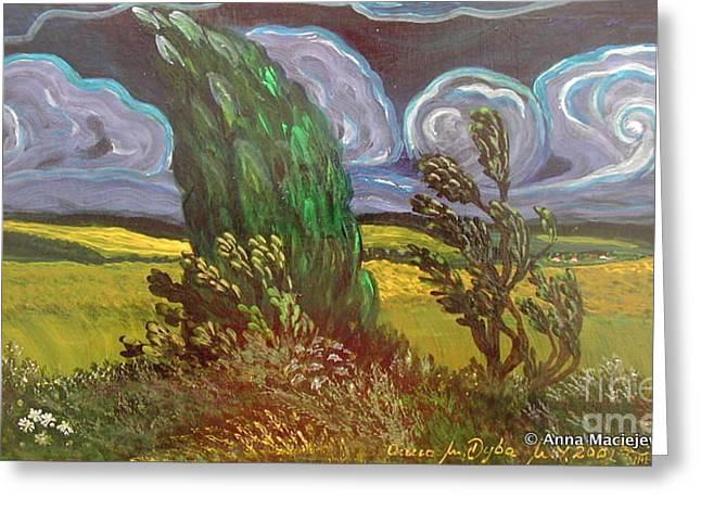 Windy Day Greeting Card by Anna Folkartanna Maciejewska-Dyba
