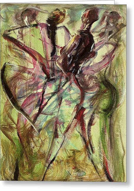 Dancing Greeting Cards - Windy Day Greeting Card by Ikahl Beckford