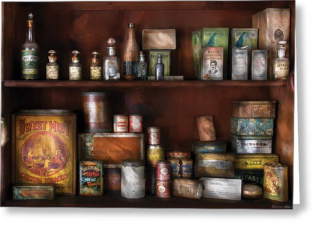 Grocery Store Photographs Greeting Cards - Wine - Rum and Tobacco Greeting Card by Mike Savad