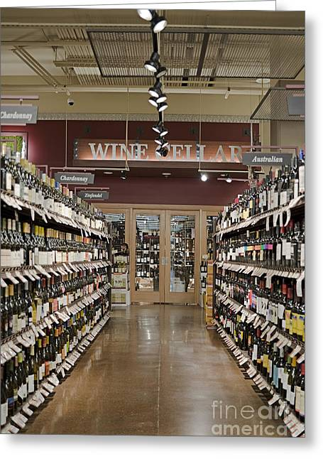 Grocery Store Greeting Cards - Wine Aisle in a Supermarket Greeting Card by Robert Pisano