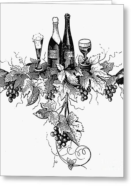 Champagne Glasses Greeting Cards - Wine And Champagne Greeting Card by Granger