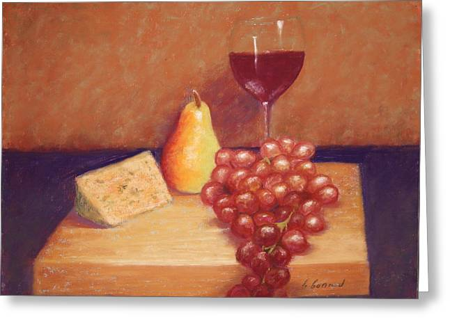 Cheeses Pastels Greeting Cards - Wine and Cheese Greeting Card by Carol Conrad