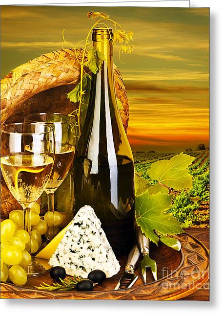 Black Olives Greeting Cards - Wine and cheese romantic dinner outdoor Greeting Card by Anna Omelchenko
