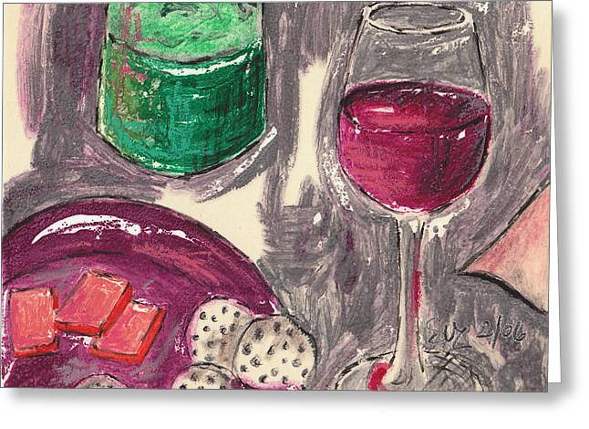 Syrah Mixed Media Greeting Cards - Wine and Cheese Greeting Card by Suzanne Blender