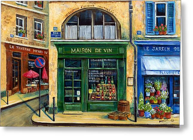 French Shops Greeting Cards - Wine And Flowers Greeting Card by Marilyn Dunlap