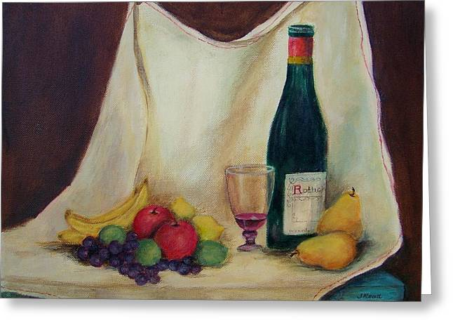 Table Wine Drawings Greeting Cards - Wine and fruit Greeting Card by Jane Landry  Read