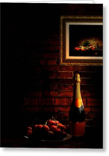 Red Wine Bottle Greeting Cards - Wine and Grape Greeting Card by Lourry Legarde