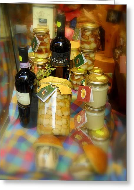 Grocery Store Greeting Cards - Wine and Mushrooms Greeting Card by Caroline Stella