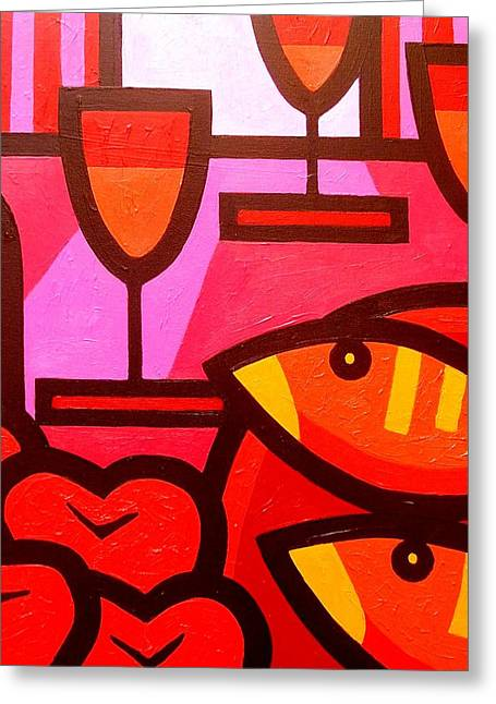 Abstract Composition Greeting Cards - Wine Apples Fish Greeting Card by John  Nolan