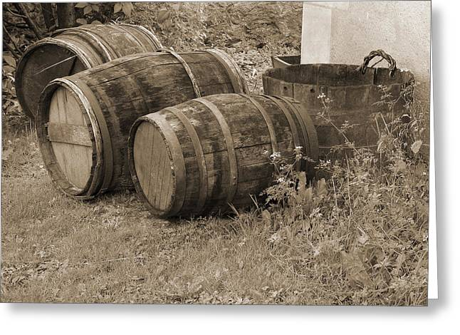 Wine Scene Greeting Cards - Wine Barrels and Bucket in Loire Valley France Greeting Card by Greg Matchick