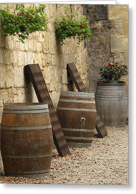 Wine Scene Greeting Cards - Wine Barrels and Racks in Saint Emilion France Greeting Card by Greg Matchick